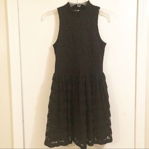 H & M Divided Black Lace Fit and Flow Skater Dress